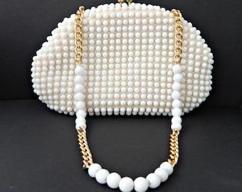 Candy Dot Bead Purse White Handbag Made Hong Kong