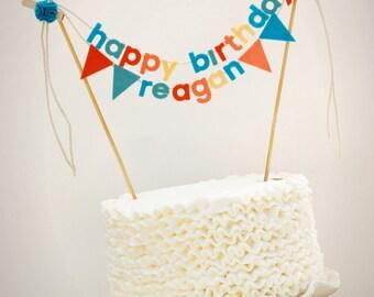 Geburtstag Kuchen Banner - Birthday Cake Topper - Happy Birthday Cake Banner - personalisierte Kuchen Banner - benutzerdefinierte Kuchen Banner - Blues und Korallen