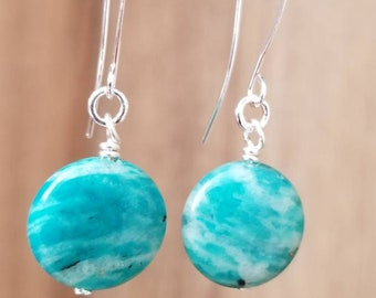 Silver & Blue Teal Swirl Glass Drop Earrings