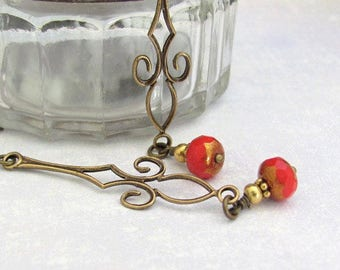 Red Earrings Dainty Long Dangle Chandelier Art Nouveau Design, Petite Red Czech Glass Beads, Antiqued Bronze Wedding Anniversary Affordable