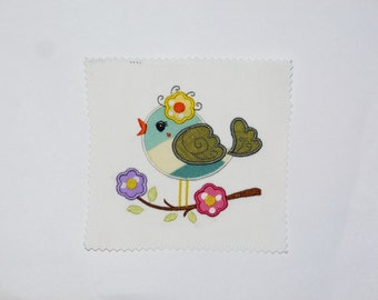 """Embroidered Iron On Applique- """"Song Bird"""""""