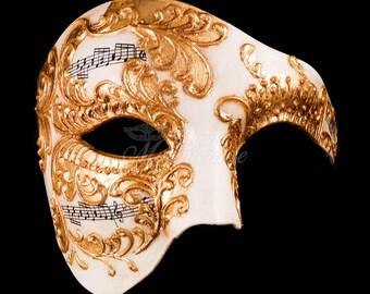 Men's Masquerade Mask, Gold Phantom Mask, Phantom of the Opera Mask, Mask with Music Notes, Masquerade Mask Men, Mardi Gras