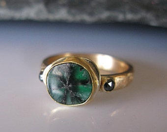 Rare Trapiche Emerald Ring Size 6 Cabochon Emerald Engagement Ring Modern Emerald Ring Gold Rustic Emerald Ring Unique Engagement Ring
