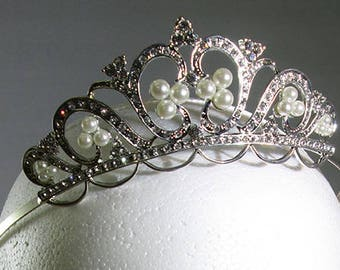 Rhinestone and Pearl Tiara, Contemporary Piece in 19th Century Style