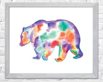 Bear Watercolor Print, Bear Painting, Watercolor Art, Animal Art, Nursery Art Print, Wall Art Print, Watercolor Painting, Home Decor