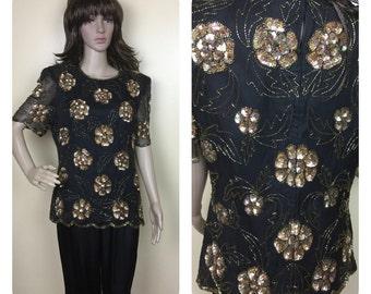 Vintage 80s sequin shirt ,Disco Top gold beaded , FLORAL  sequin top, trophy top , 1980s glam top