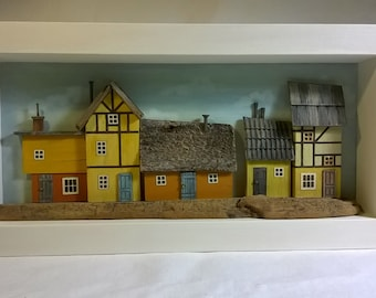 Driftwood House, Shadowbox Art, Driftwood Art Diorama