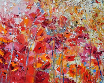 Original Painting Abstract Art Red Flowers Floral oil painting Red Poppies Impressionist painting Ukrainian art Free shipping