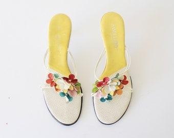 80's Vintage Sam & Libby Multi-Color Leather Floral Kitten Heels