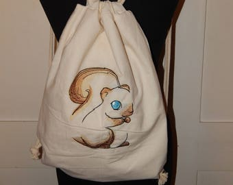 Cotton Backpack with Embroidery