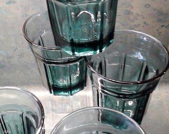 Teal 8 Panel Short Tumbler Drinking Glasses - 8 ozs. (Set of 8)