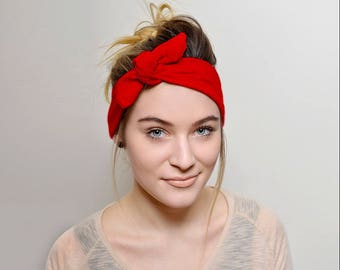 Red Headband Adults Hair Accessories, Womens Headband Tie Knot, Red adult headband Headbands for women