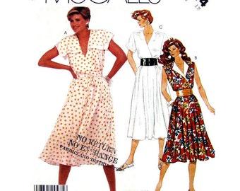 Bodice Wrap Dress Pattern McCalls 2414 Flared Skirt Sailor Collar Womens Size 12 Sewing Pattern UNCUT