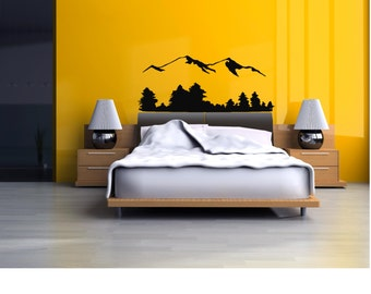 Mountain Range Wall Decal - Mountain Decal - Mountain Top Decal - Mountain Wall Decal