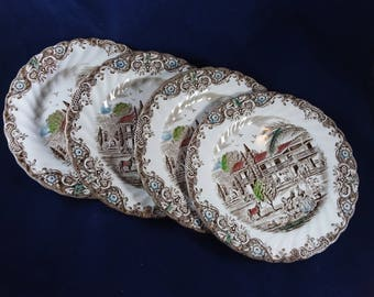 Heritage Hall Spanish-American Hacienda 4 Bread and Butter Plates Johnson Brothers Excellent