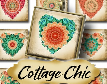 COTTAGE CHIC•1x1 Square Hearts Images•Printable Digital Images•Cards•Gift Tags•Stickers•Magnets•Digital Collage Sheet