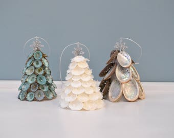 Christmas Beach Decor, Coastal Christmas Decor, Seashell Christmas Tree, Nautical Decor, Limpet, Cay Cay Shell or Abalone Christmas Tree