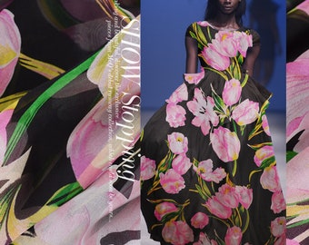 """100% fine silk chiffon fabric, big flowers, 53""""/135cm 6mm for Summer Dresses, blouses, skirts, Scarves, by the yard"""