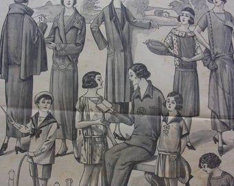 set of 6 vintage pages - 20s fashion - REF. 55106