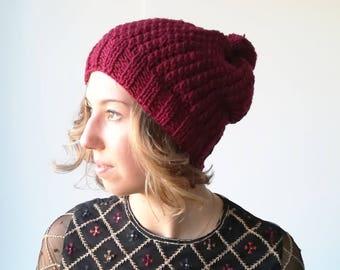 Knit hat womens knit hat pom pom knit hat wool hat winter hat handmade knit hat