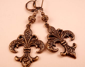 Brass Earrings Fleur de Lis Earrings Brass Jewelry Metal Jewelry Beaded Earrings New Orleans Saints Beaded Jewelry