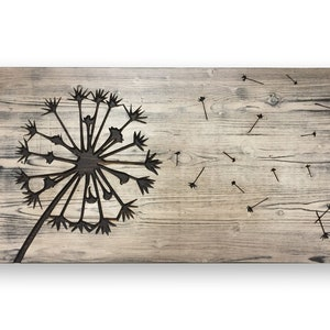 Dandelion Wall Art, Carved, 3D, Blowing Seeds, Wanderlust, Print, Photo, Poster, Print, Rustic, Kitchen, Bathroom, Large, Wooden, Farmhouse