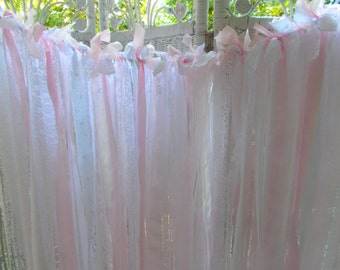 Organza and Lace Fabric Garland pink and white Wedding, Baby Shower
