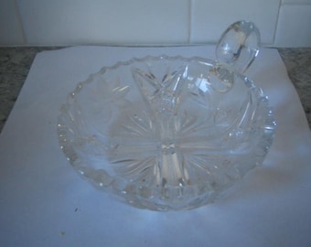 Vintage  cut glass candy or nut dish with finger handle