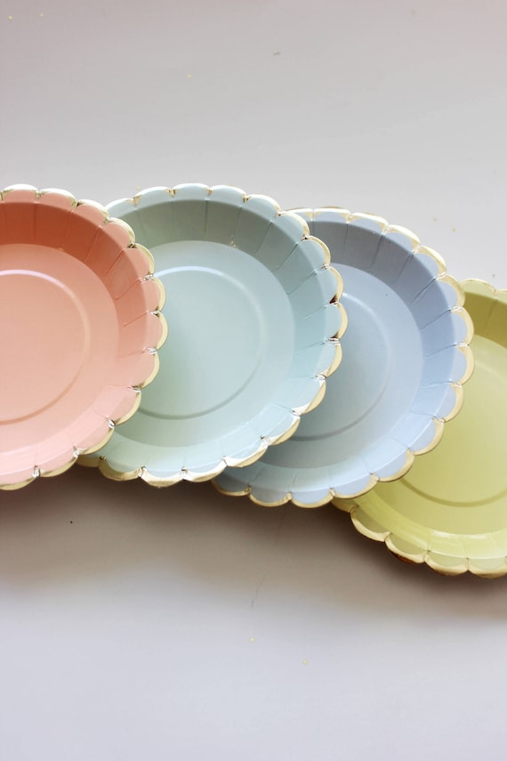 Sale 10 MINI PAPER PLATES Floral Unicorn Theme Scallop Pastel Flower Tea Time Mint Green Peach Pink Yellow Pastel Powder Blue Canape Plate from ... & Sale 10 MINI PAPER PLATES Floral Unicorn Theme Scallop Pastel Flower ...