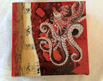 Original Mixed Media Octopus Collage