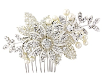 Crystal bridal Hair Comb. Ivory pearls and embellished beadwork on a silver plated finish.  Stunning piece