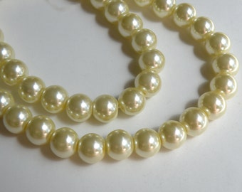 Light yellow glass pearl beads round 10mm full strand 7787GB