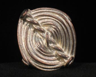Button 2 metal tones, pattern ribbed hollow, 25mm X 28 mm, set of 3