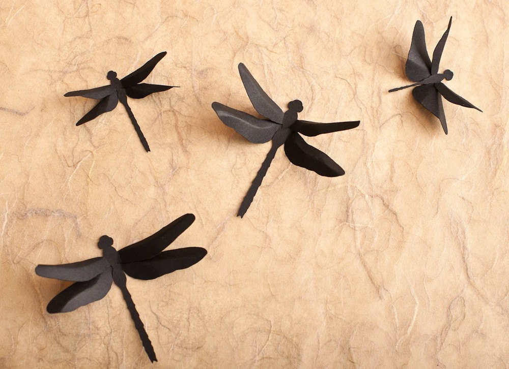 Dragonfly Wall Decor: 3D Wall Dragonfly Silhouettes in Black