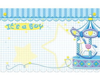 50 Pony Carousel IT'S A Boy Blue Florist Blank Enclosure Cards Small Tags Crafts (Free Shipping!)
