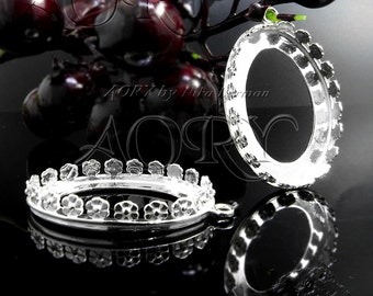 1pcs 925 Sterling Silver Flower Crown Bezel Pendant for 18x25mm Cabochon, (1260ws), Gallery Bezel 25x18mm, White Silver Color