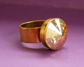 Golden Crystal Bling Ring - Adjustable Ring - Epoxy Clay and Crystal Rivoli