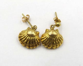 9ct Gold Shell Drop Earrings With Post And Butterfly Backs