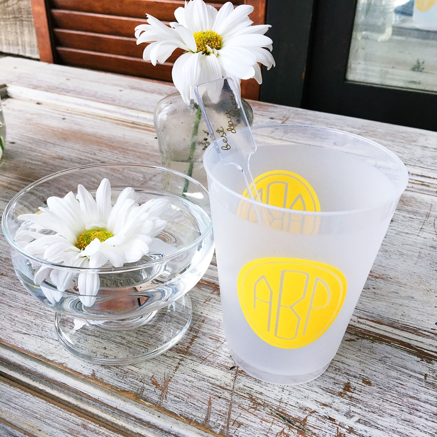 monogram shatterproof cups, personalized cups, party cups ...