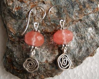 Sterling Silver EARRINGS pink gemstones Quartz cherry semi precious Silver 925 spiral charm handmade earrings. Trending jewelry
