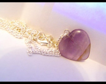 Small amethyst heart necklace
