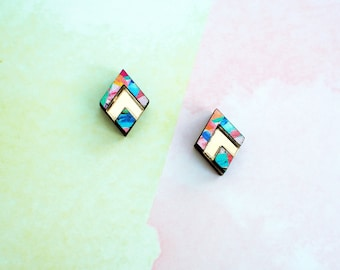 Turquoise studs, Art deco jewelry, unique gifts, unique jewelry, surgical steel studs, statement earrings, gifts for women, gold jewellery