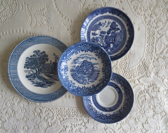 Mix of 4 Blue and White Vintage Small Plates.  Mismatched Plates, Saucers. Farmhouse Cottage Kitchen Decor.  Ironstone Wall Collage Dishes