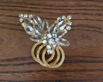 Juliana D&E Clear and AB Rhinestone with Gold Rope Flower Spray Brooch 1210