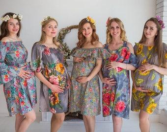 Gray Floral Maternity Shift Dress, Maternity Summer Dress, Maternity Workwear, Pregnancy Dress, Maternity Tunic, Sundress, Baby Shower Gift