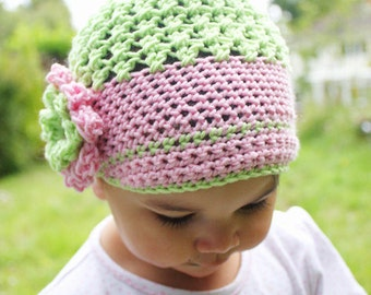 3 to 6m Newsgirl Hat  Sun Hat Crochet Flower Flapper Beanie - Girl Flower Hat in Lime Green, Baby Pink Merino Baby Hat