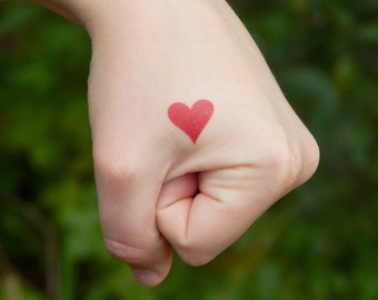 Love Temporary Tattoo - Red Heart Tattoo, Wedding Tattoo, Small Wrist / Hand Tattoo