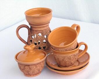 Unique Hand-made Ceramic Cups with Sugar Bowl