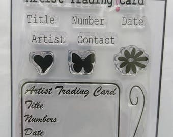 ATC / Artist Trading Card info A7 stamp set by Imagine Design Create