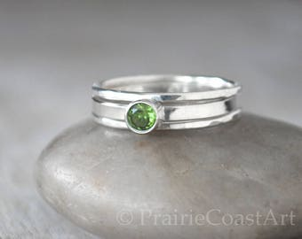 Birthstone Ring Set, Sterling Silver Birthstone Stack Ring Set - Choose a Birthstone Ring with 2 Stacking Rings, Mothers Ring